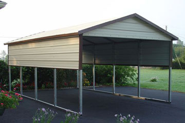 1 car carport canopy with half walls and gabled boxed eave