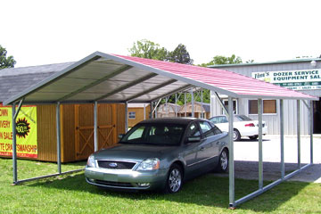 Boxed eave single carports can be customized in size and color