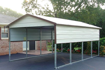 Single carport with half walls to protect your car or boat