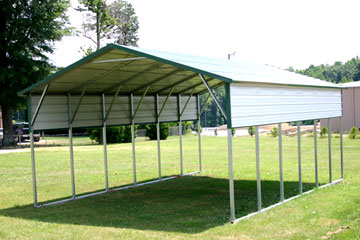 metal steel carport on grass with quarter wall