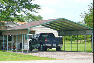 Double-wide carport with quarter walls and boxed eaves