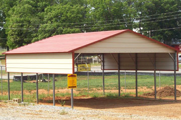 2-Car Carport with Half walls, a Gabled End, and Horizontal Roofing