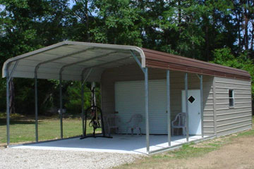 Tough Metal Buildings from EZCarports.com with carport addition