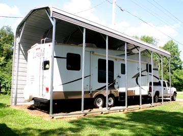 RV metal carport kits can come fully enclosed, with only one wall to block the wind, or completely open.