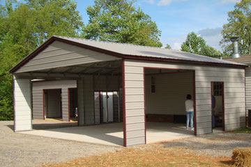 Enclosed carports with vertical roofing