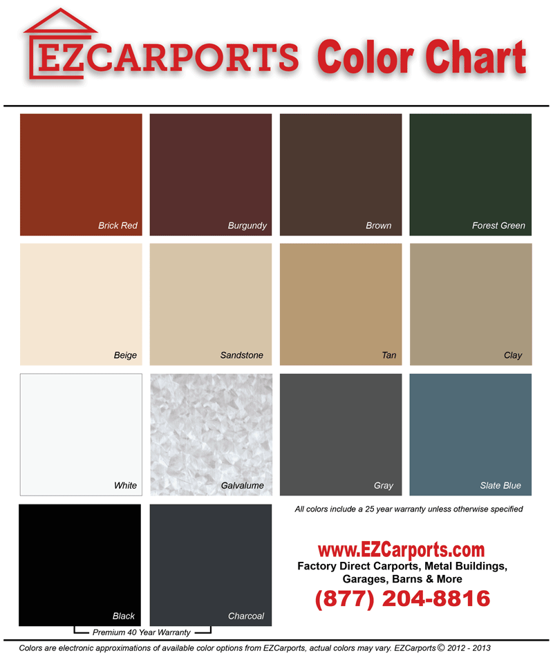 Metal carport colors come with a 25-40 year warranty from EZCarports.com